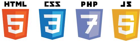 HTML, CSS, PHP, Javascript logos