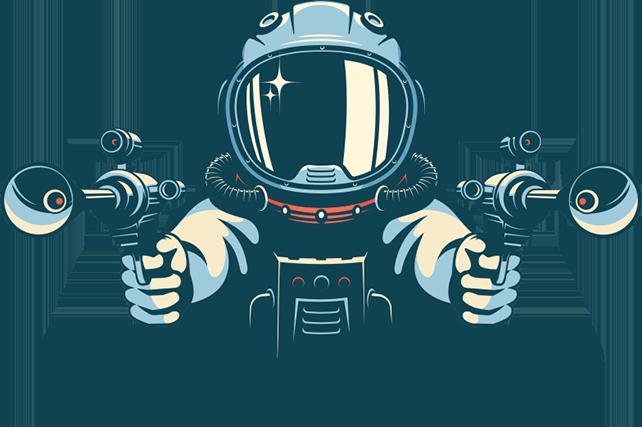 Astronaut holding ray guns